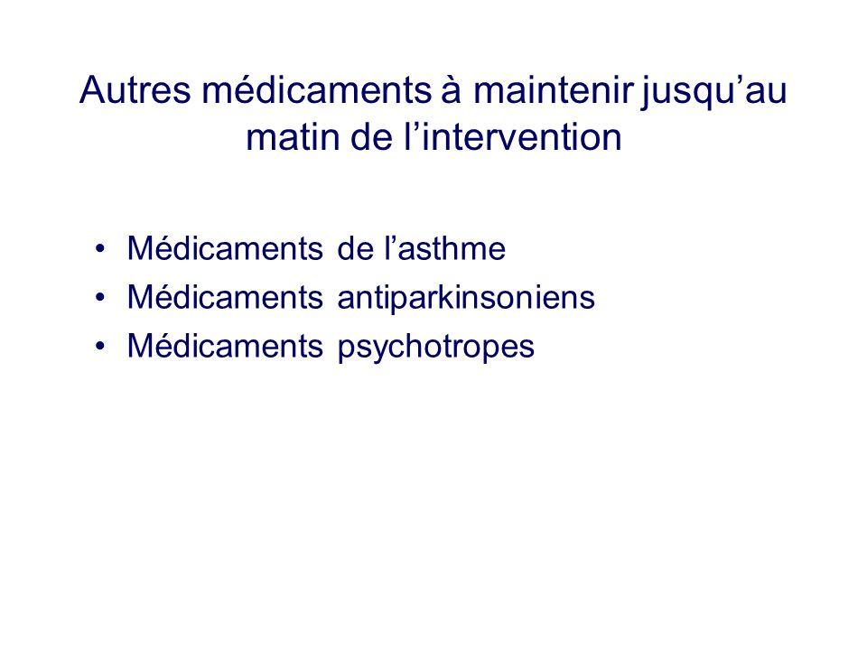 Autres médicaments à maintenir jusqu'au matin de l'intervention