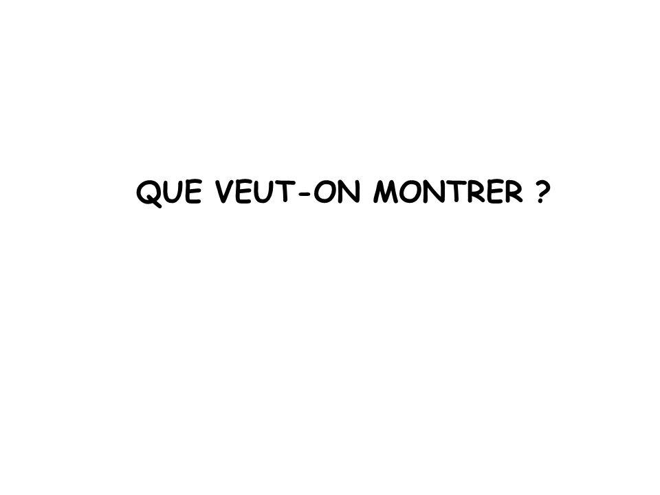 QUE VEUT-ON MONTRER