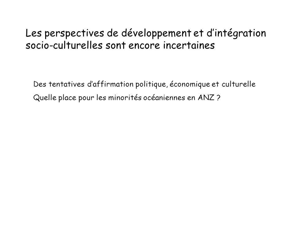 Les perspectives de développement et d'intégration socio-culturelles sont encore incertaines