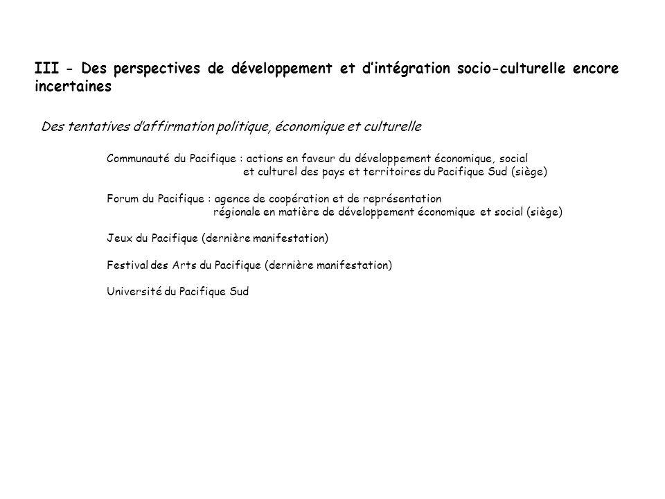 III - Des perspectives de développement et d'intégration socio-culturelle encore incertaines