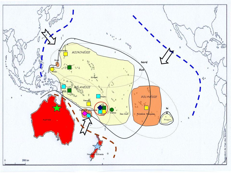 MICRONÉSIE Nord Sud MÉLANÉSIE POLYNÉSIE N S Mariannes Guam Palau