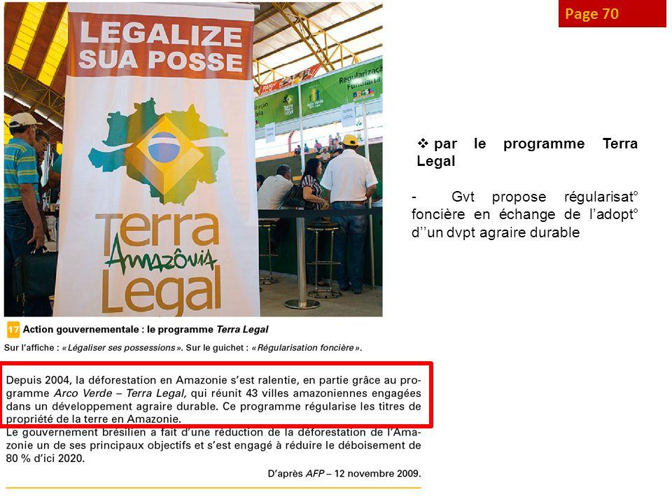 Page 70 par le programme Terra Legal