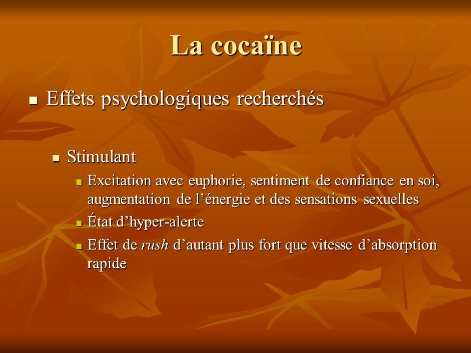 La cocaïne Effets psychologiques recherchés Stimulant