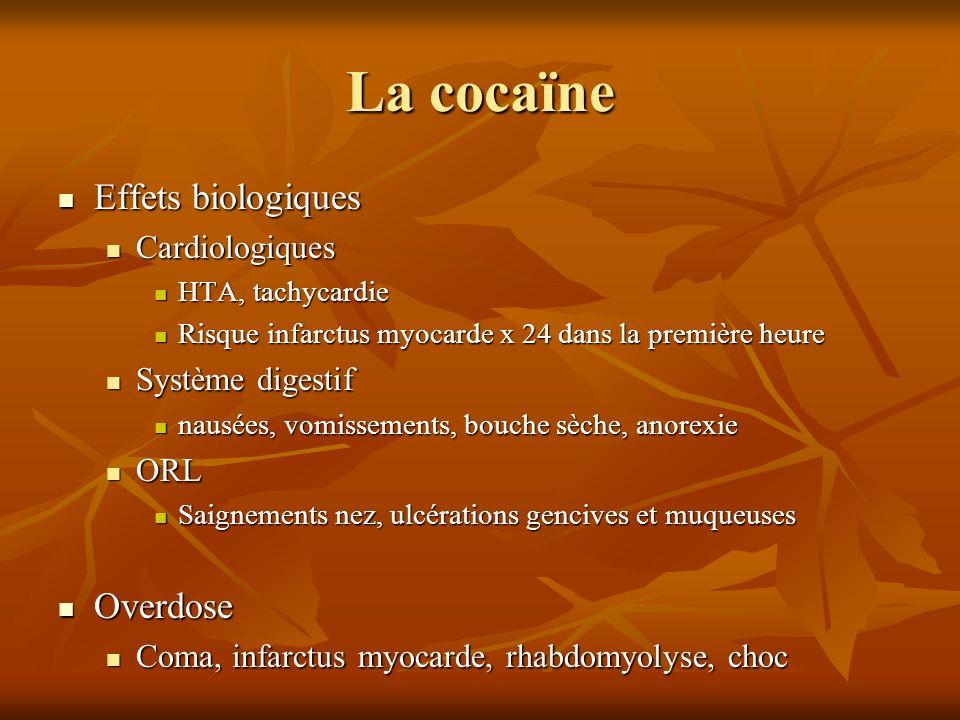 La cocaïne Effets biologiques Overdose Cardiologiques Système digestif