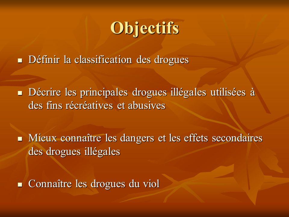 Objectifs Définir la classification des drogues