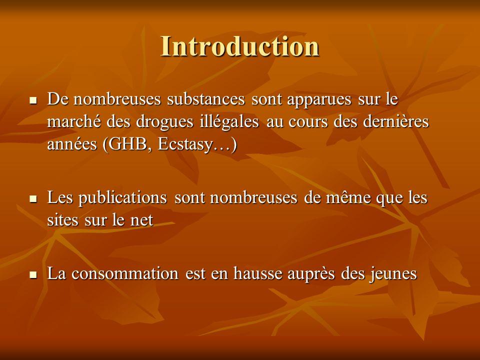 Introduction De nombreuses substances sont apparues sur le marché des drogues illégales au cours des dernières années (GHB, Ecstasy…)