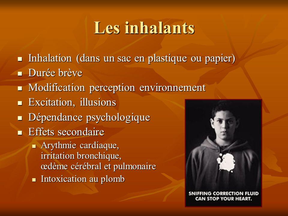 Les inhalants Inhalation (dans un sac en plastique ou papier)