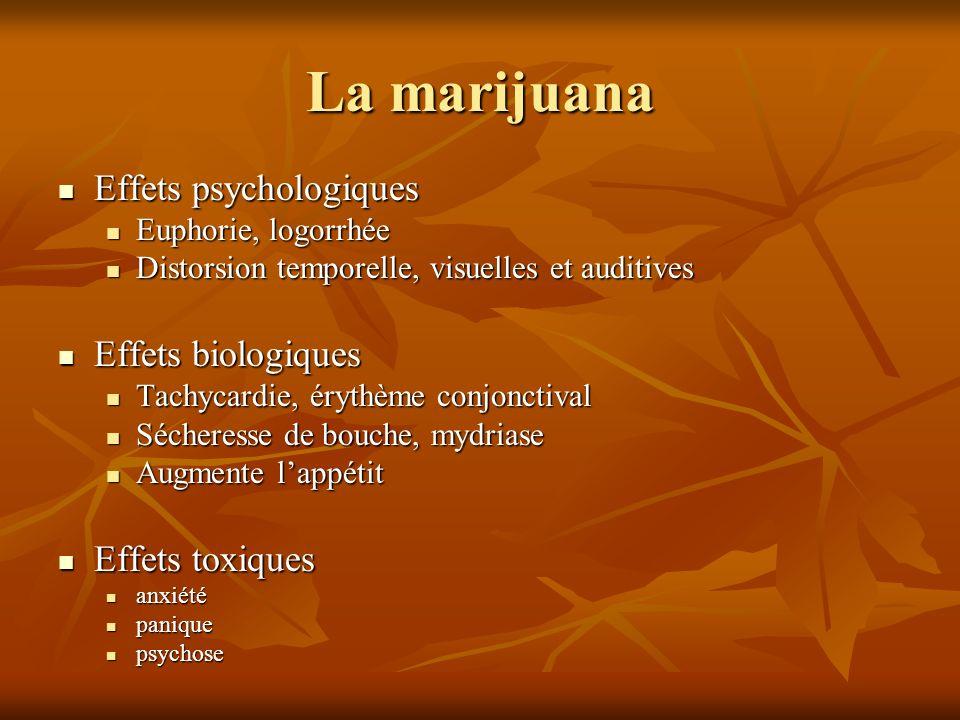 La marijuana Effets psychologiques Effets biologiques Effets toxiques