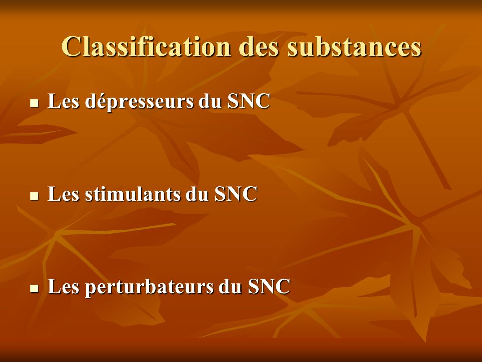 Classification des substances