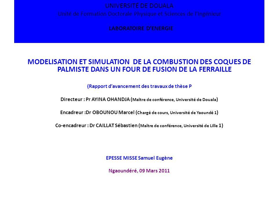 UNIVERSITÉ DE DOUALA Unité de Formation Doctorale Physique et Sciences de l'Ingénieur LABORATOIRE D'ENERGIE