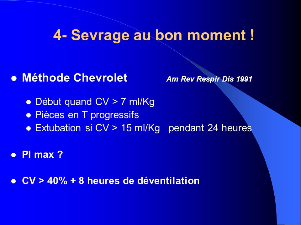 4- Sevrage au bon moment ! Méthode Chevrolet Am Rev Respir Dis 1991