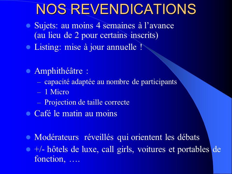NOS REVENDICATIONS Sujets: au moins 4 semaines à l'avance (au lieu de 2 pour certains inscrits)