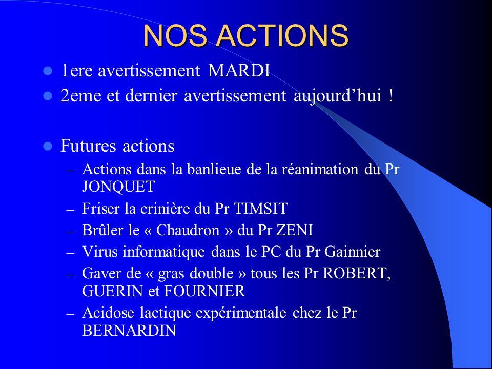 NOS ACTIONS 1ere avertissement MARDI