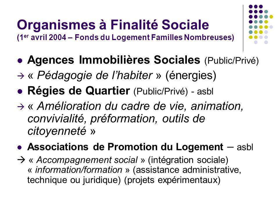 Organismes à Finalité Sociale (1er avril 2004 – Fonds du Logement Familles Nombreuses)