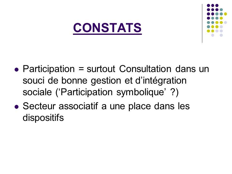 CONSTATS Participation = surtout Consultation dans un souci de bonne gestion et d'intégration sociale ('Participation symbolique' )