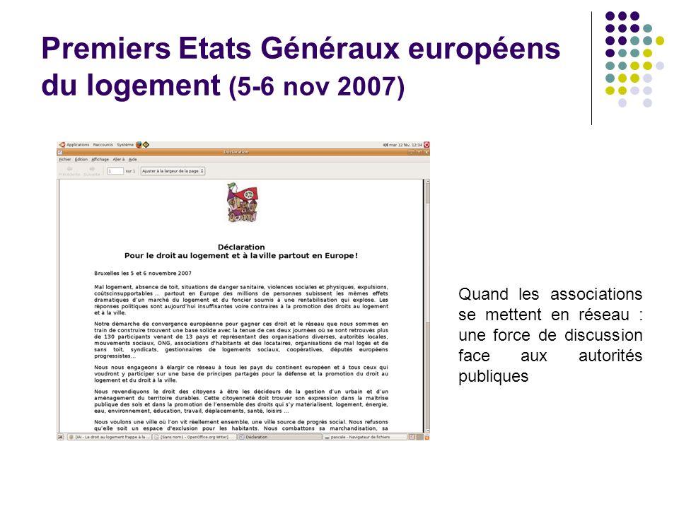 Premiers Etats Généraux européens du logement (5-6 nov 2007)