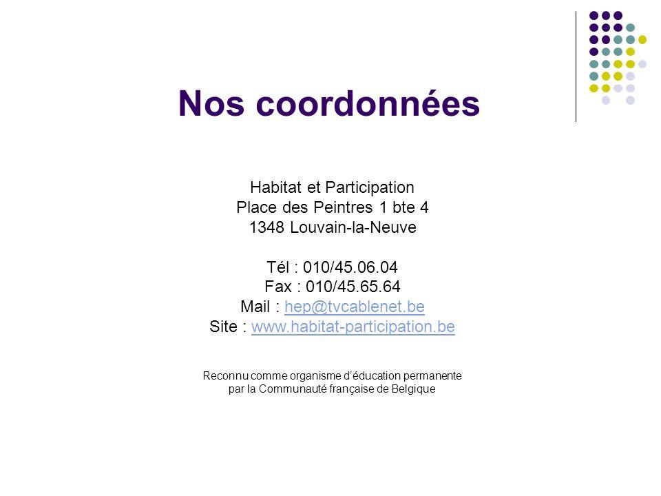 Nos coordonnées Habitat et Participation Place des Peintres 1 bte 4