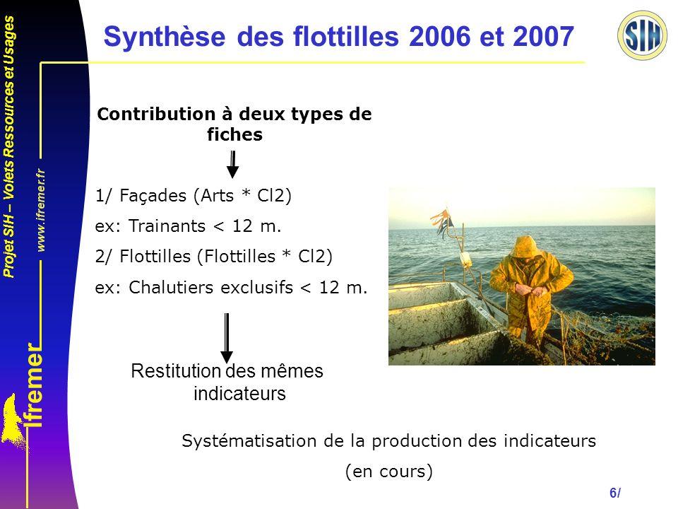 Synthèse des flottilles 2006 et 2007