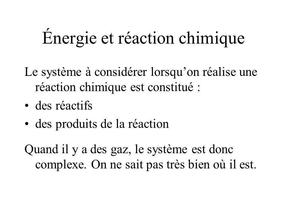 Énergie et réaction chimique