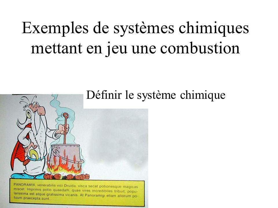 Exemples de systèmes chimiques mettant en jeu une combustion