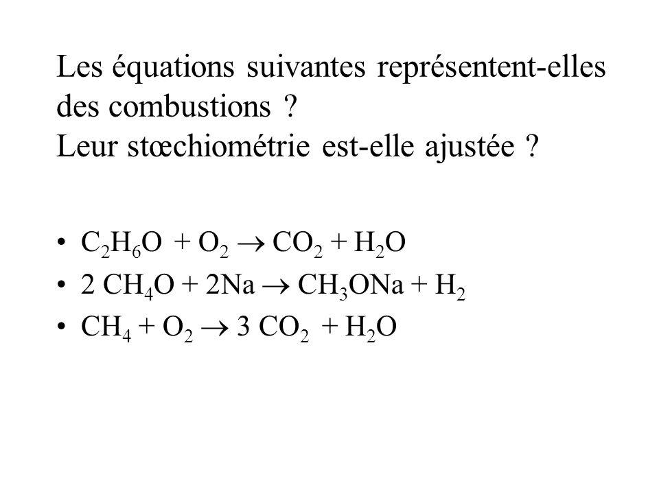 Les équations suivantes représentent-elles des combustions