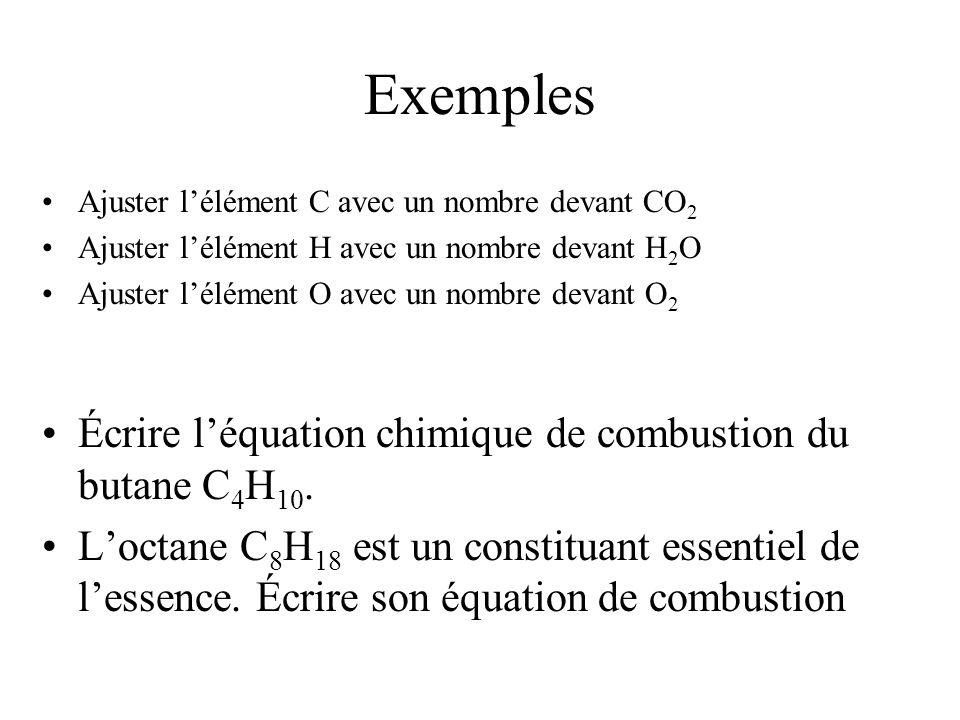 Exemples Écrire l'équation chimique de combustion du butane C4H10.
