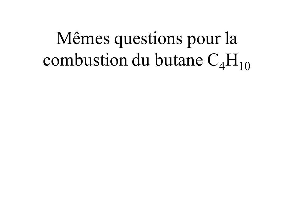 Mêmes questions pour la combustion du butane C4H10
