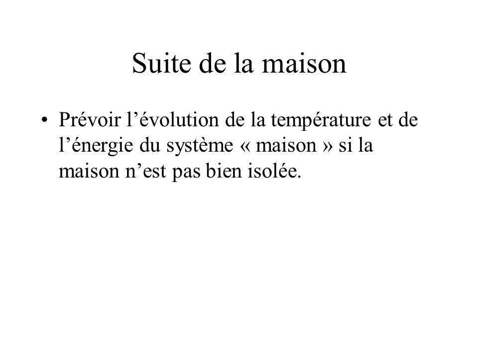 Suite de la maison Prévoir l'évolution de la température et de l'énergie du système « maison » si la maison n'est pas bien isolée.