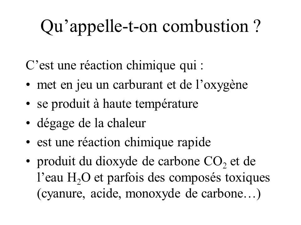 Qu'appelle-t-on combustion