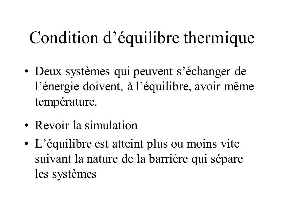 Condition d'équilibre thermique