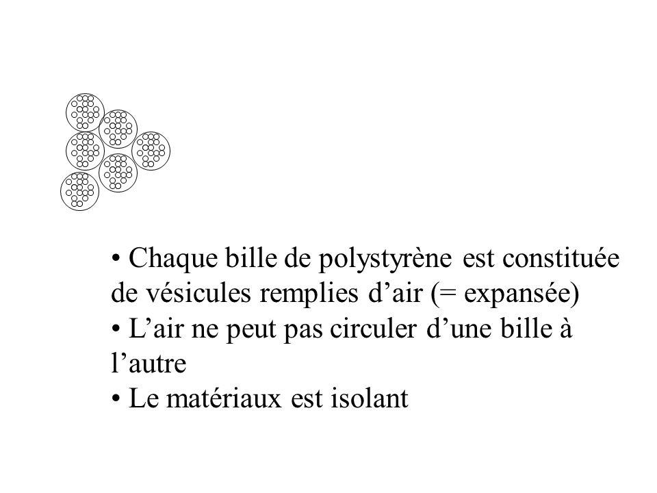 Chaque bille de polystyrène est constituée de vésicules remplies d'air (= expansée)