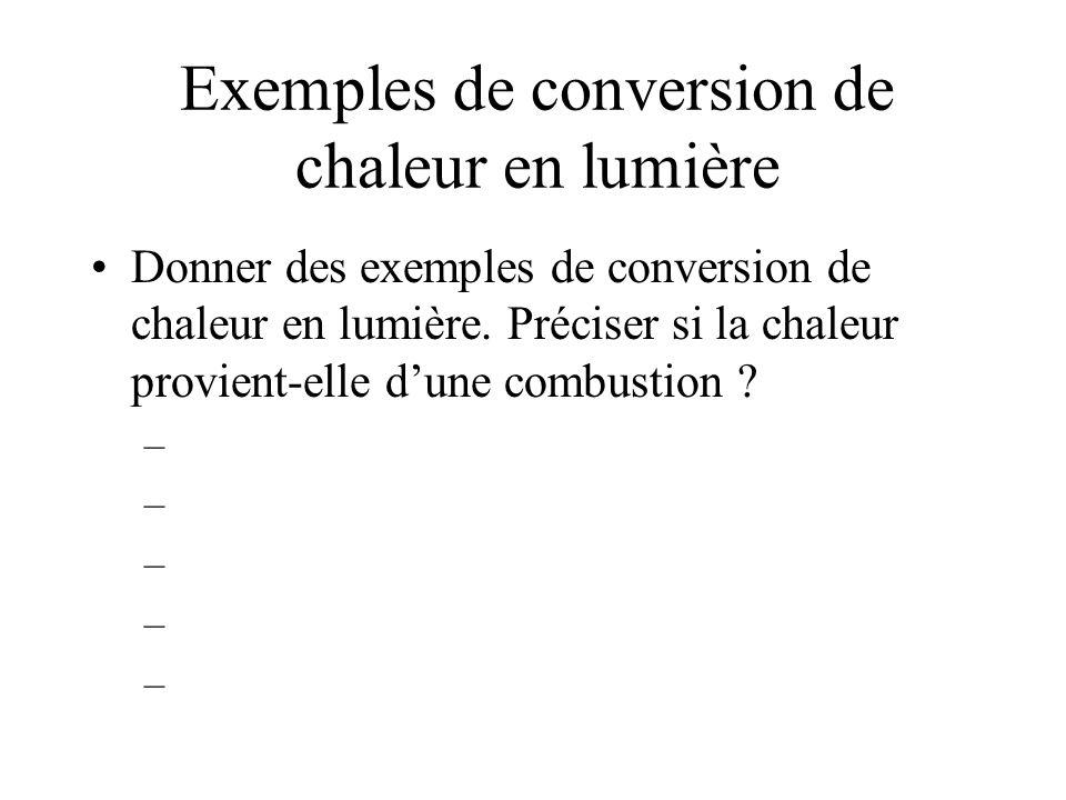 Exemples de conversion de chaleur en lumière