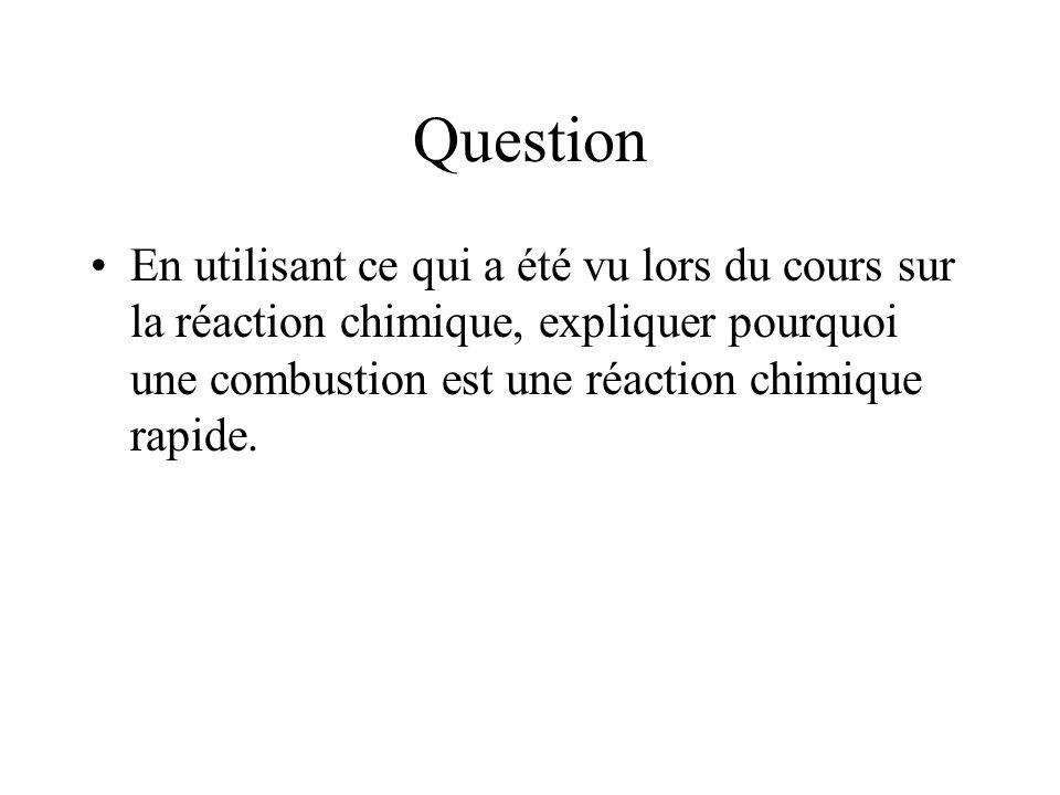 Question En utilisant ce qui a été vu lors du cours sur la réaction chimique, expliquer pourquoi une combustion est une réaction chimique rapide.