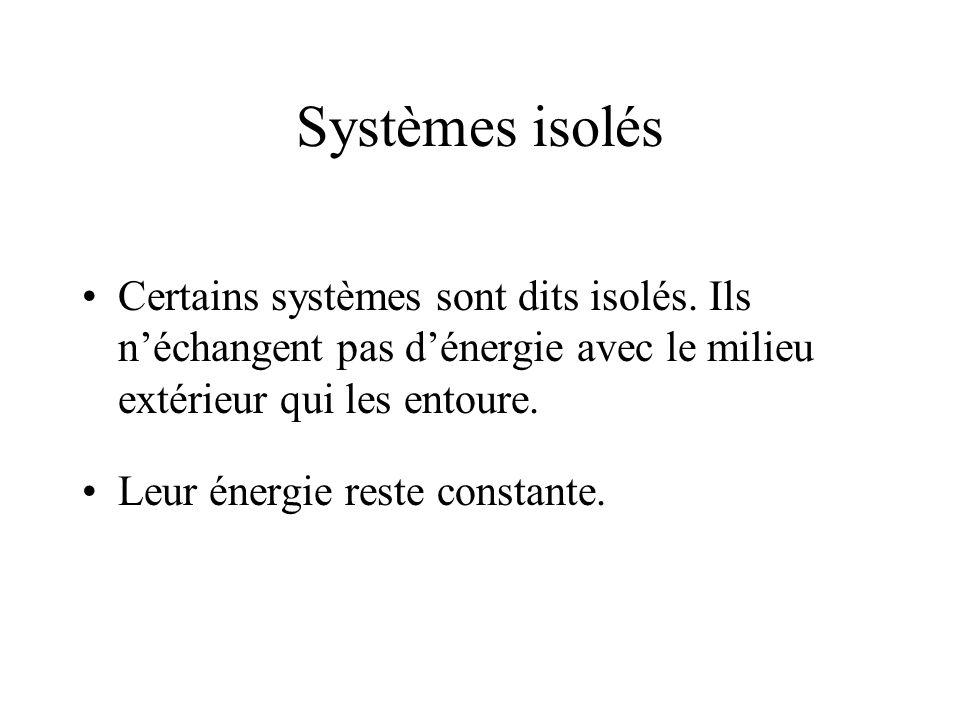 Systèmes isolés Certains systèmes sont dits isolés. Ils n'échangent pas d'énergie avec le milieu extérieur qui les entoure.