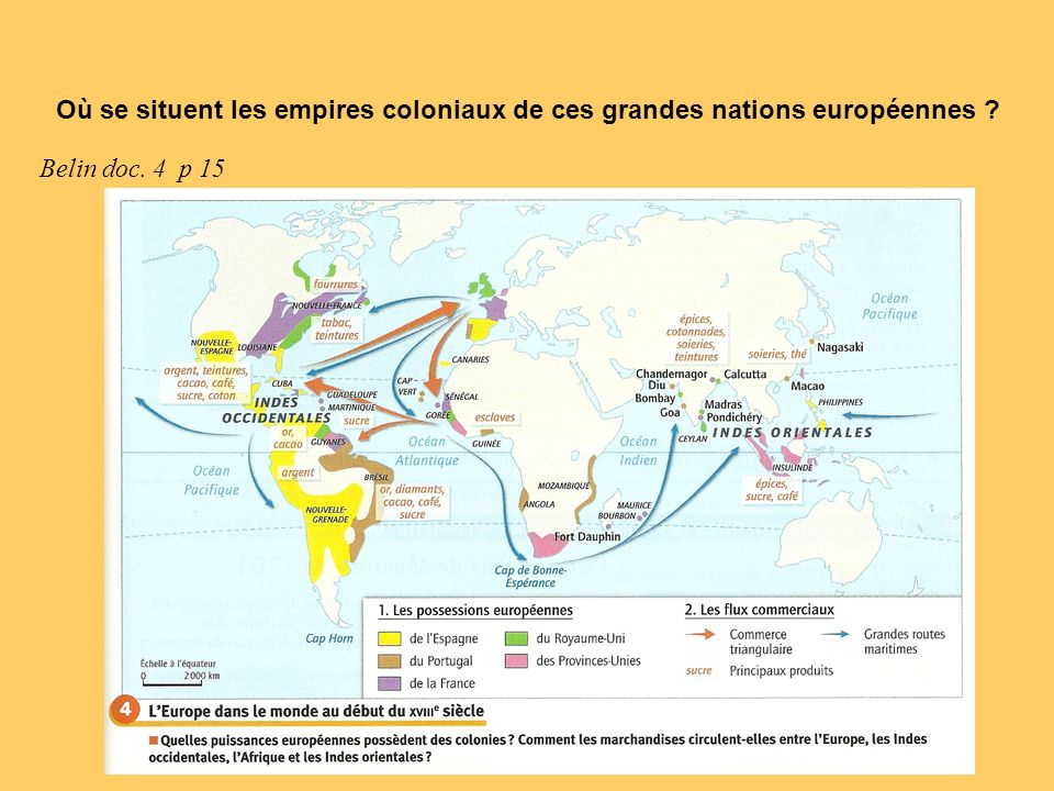Où se situent les empires coloniaux de ces grandes nations européennes