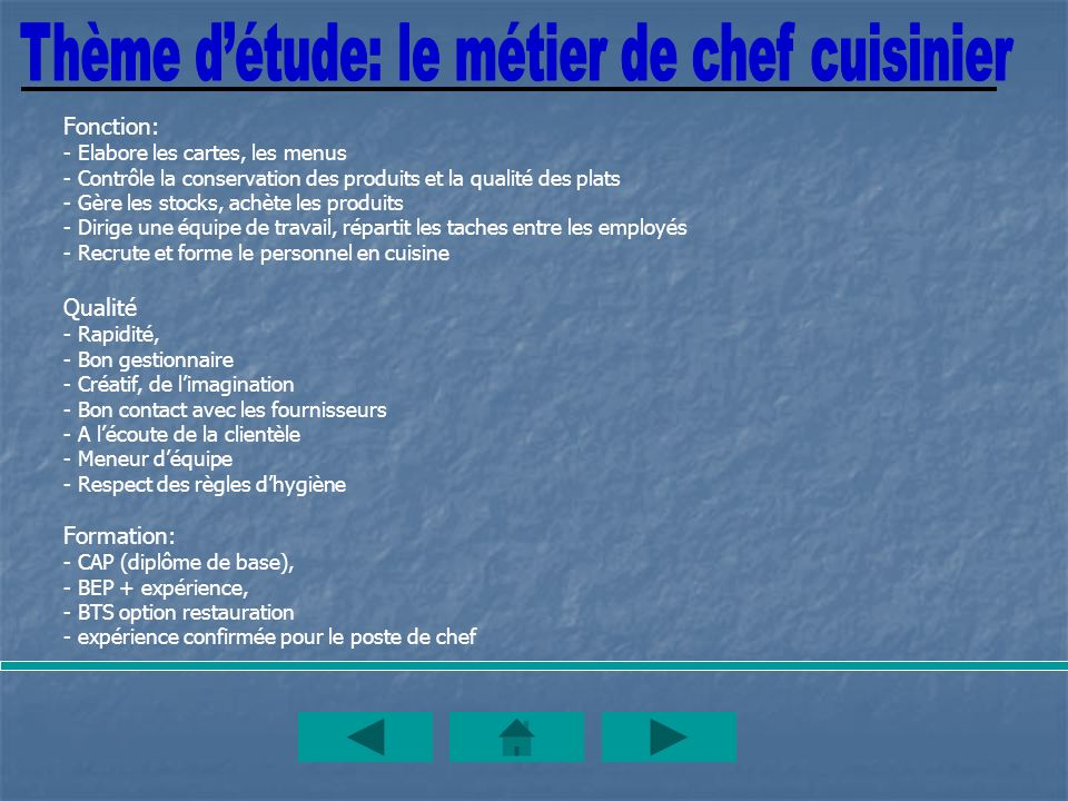 Thème d'étude: le métier de chef cuisinier