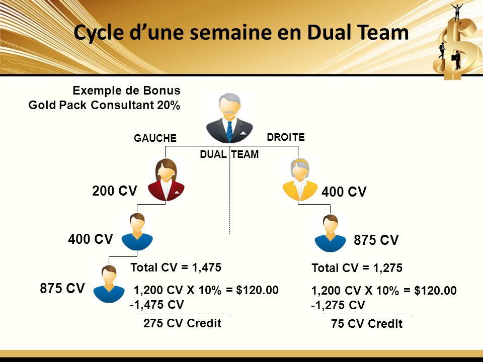 Cycle d'une semaine en Dual Team