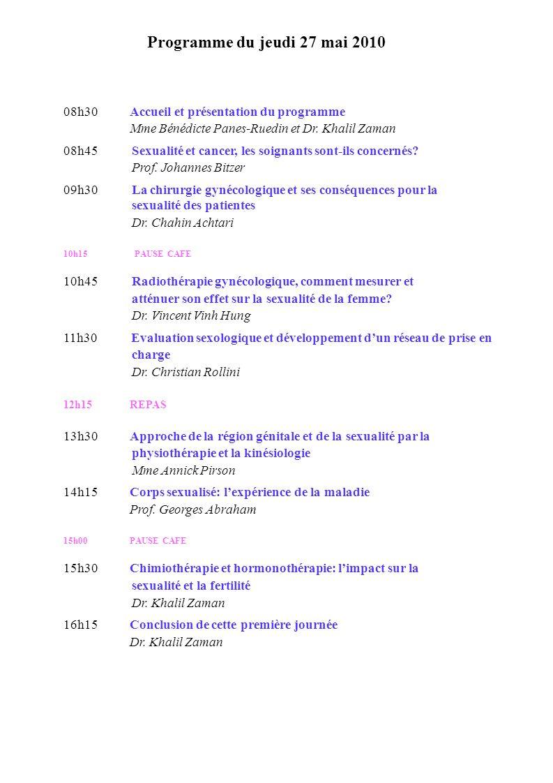 Programme du jeudi 27 mai 2010 08h30 Accueil et présentation du programme. Mme Bénédicte Panes-Ruedin et Dr. Khalil Zaman.