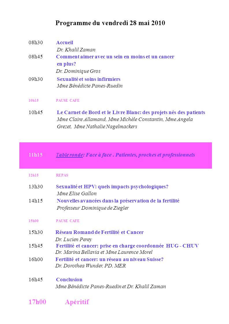 Programme du vendredi 28 mai 2010