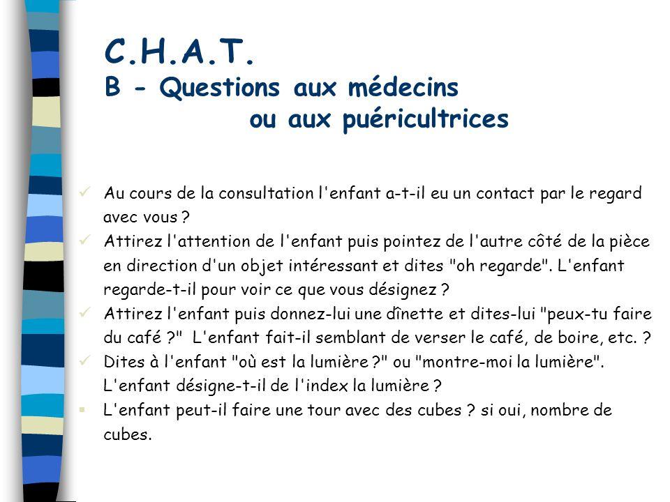 C.H.A.T. B - Questions aux médecins ou aux puéricultrices