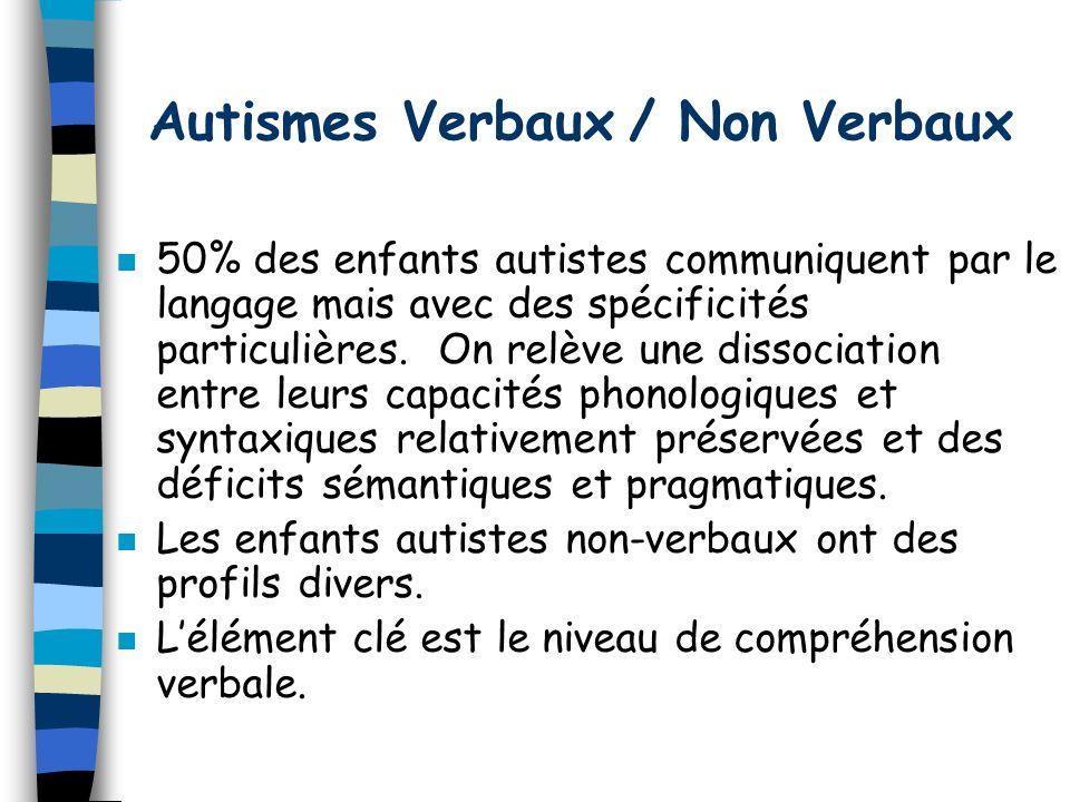 Autismes Verbaux / Non Verbaux