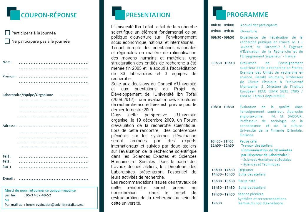 COUPON-RÉPONSE PRESENTATION PROGRAMME Participera à la journée