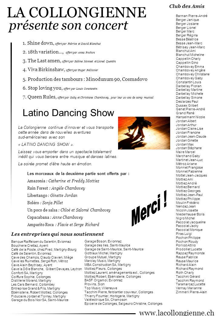 LA COLLONGIENNE présente son concert Latino Dancing Show Merci !