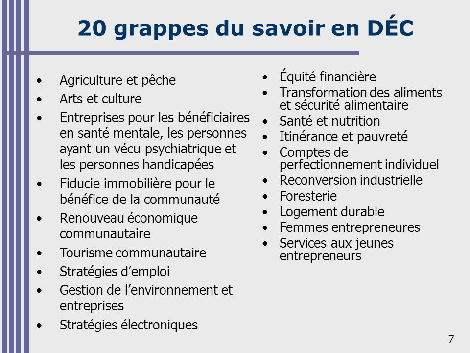 Initiatives de renforcement des capacités communautaires selon la grappe de DÉC (2001-2005)
