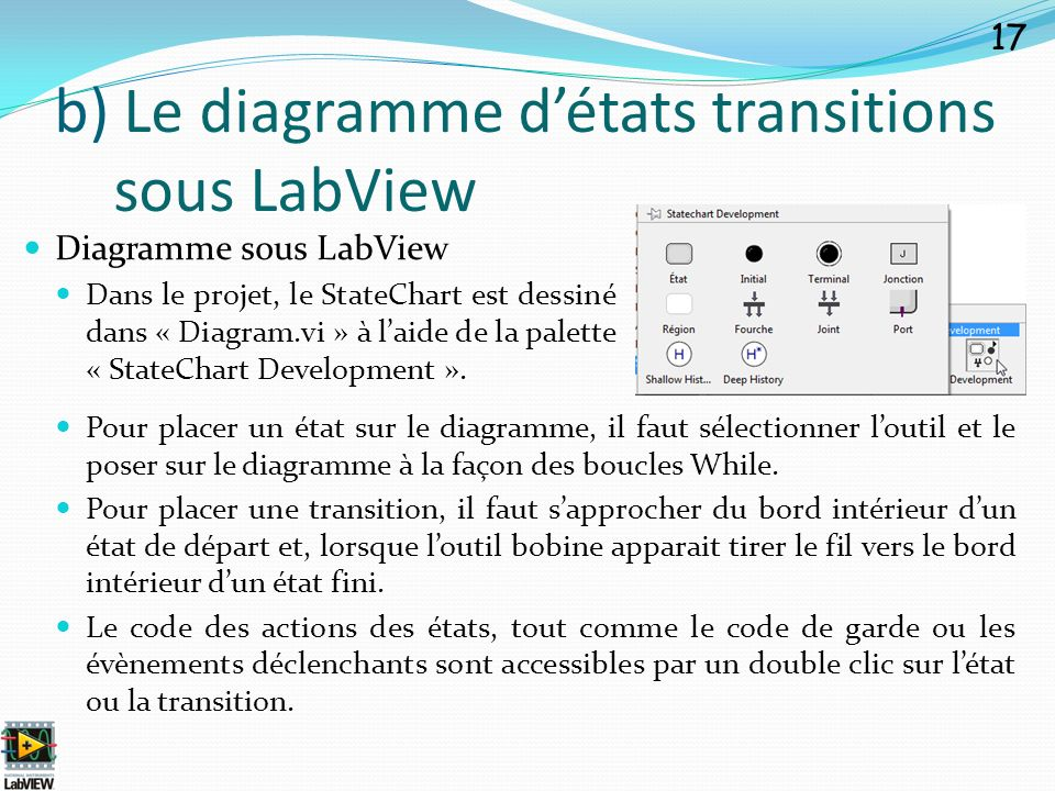 b) Le diagramme d'états transitions sous LabView