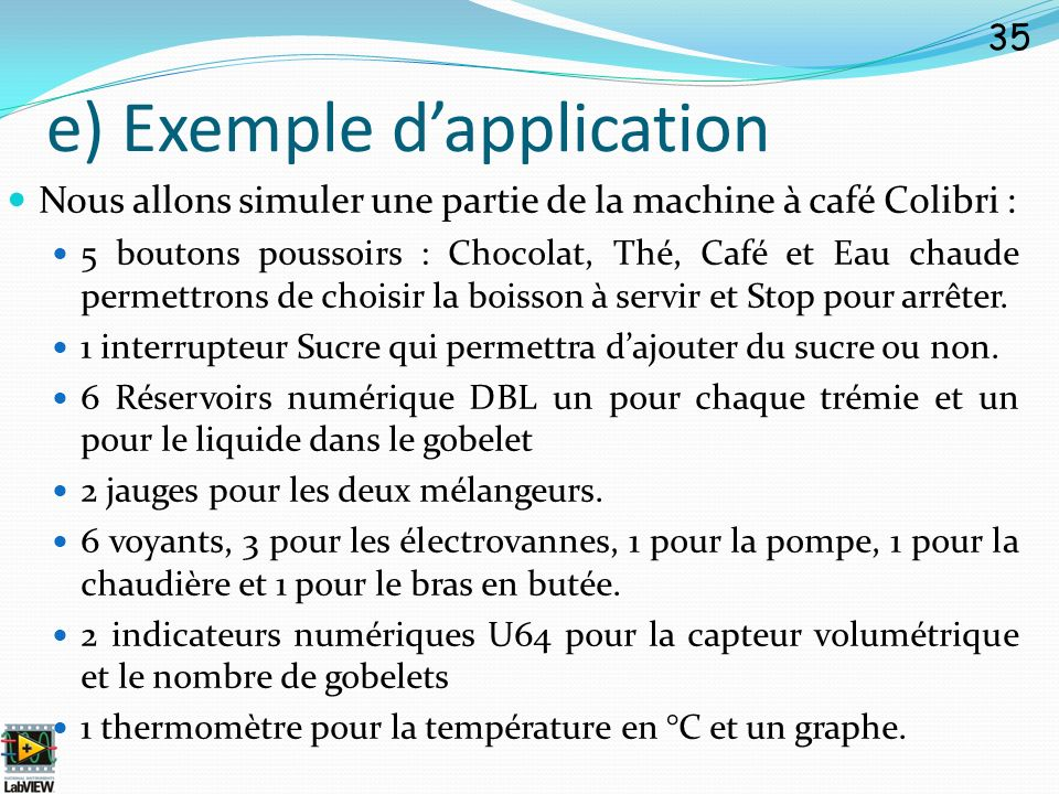 e) Exemple d'application
