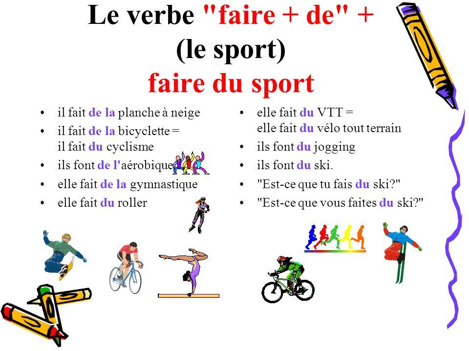Le verbe faire + de + (le sport) faire du sport