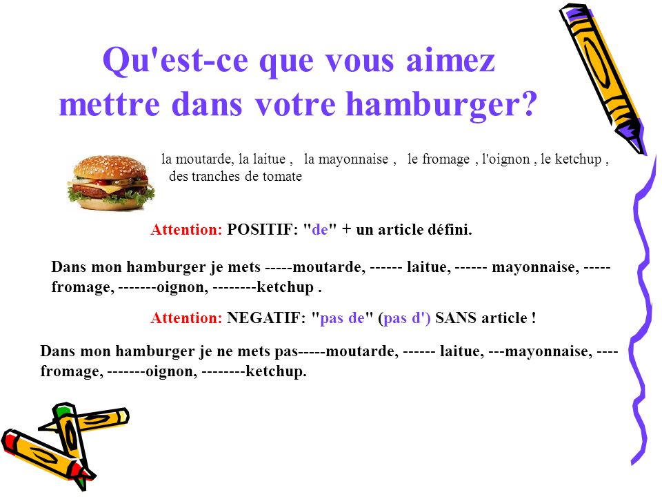 Qu est-ce que vous aimez mettre dans votre hamburger