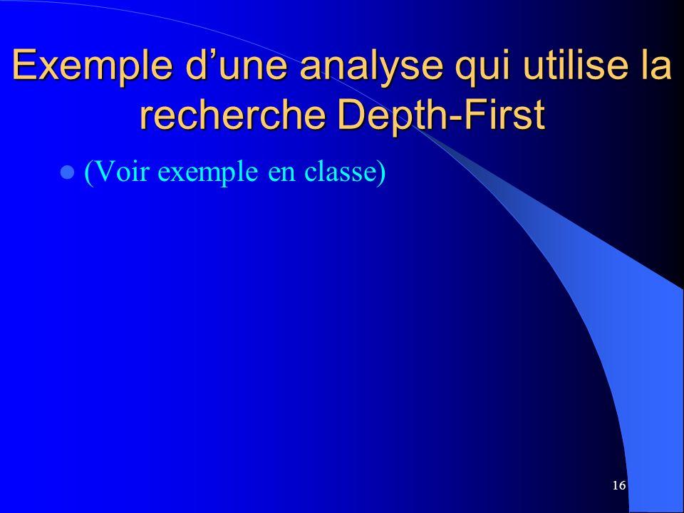 Exemple d'une analyse qui utilise la recherche Depth-First