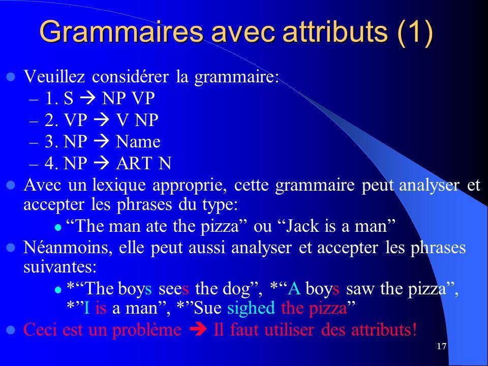 Grammaires avec attributs (1)
